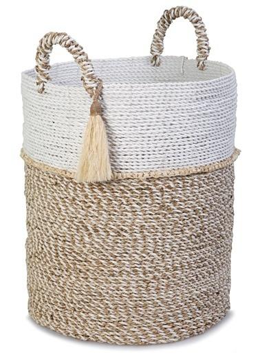 Kanca Ev Seagrass Hasır, Püsküllü Yuvarlak Derin Sepet, Beyaz-Natürel, Xl Beyaz